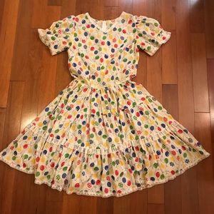 Vintage square Dancing Circle Skirt Dress